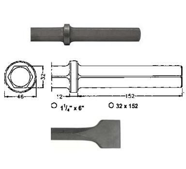Corta asfaltos para martillos neumáticos inserción Hexagonal 32x152 de 500mm