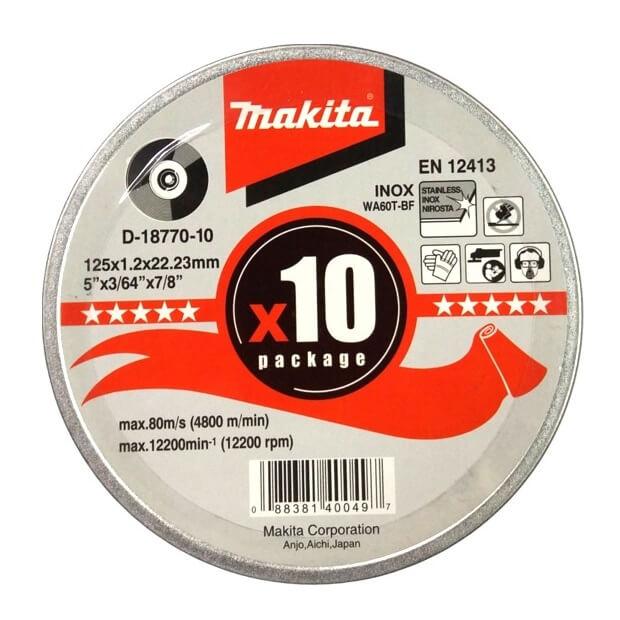 Disco de corte extrafino INOX Makita de 125x1,2mm (Pack 10 unidades)