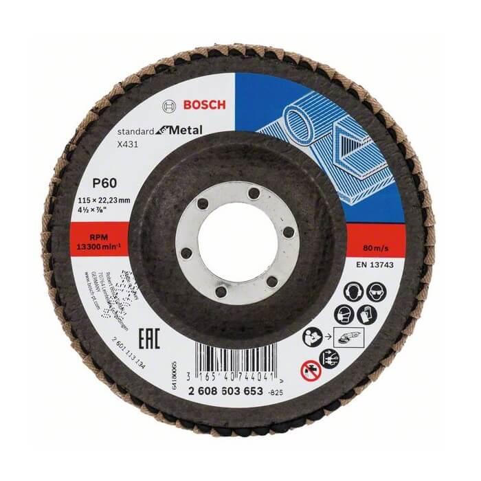 Disco de láminas para lijar metal X431 Bosch de 115mm - Grano P60 - Referencia 2608603653