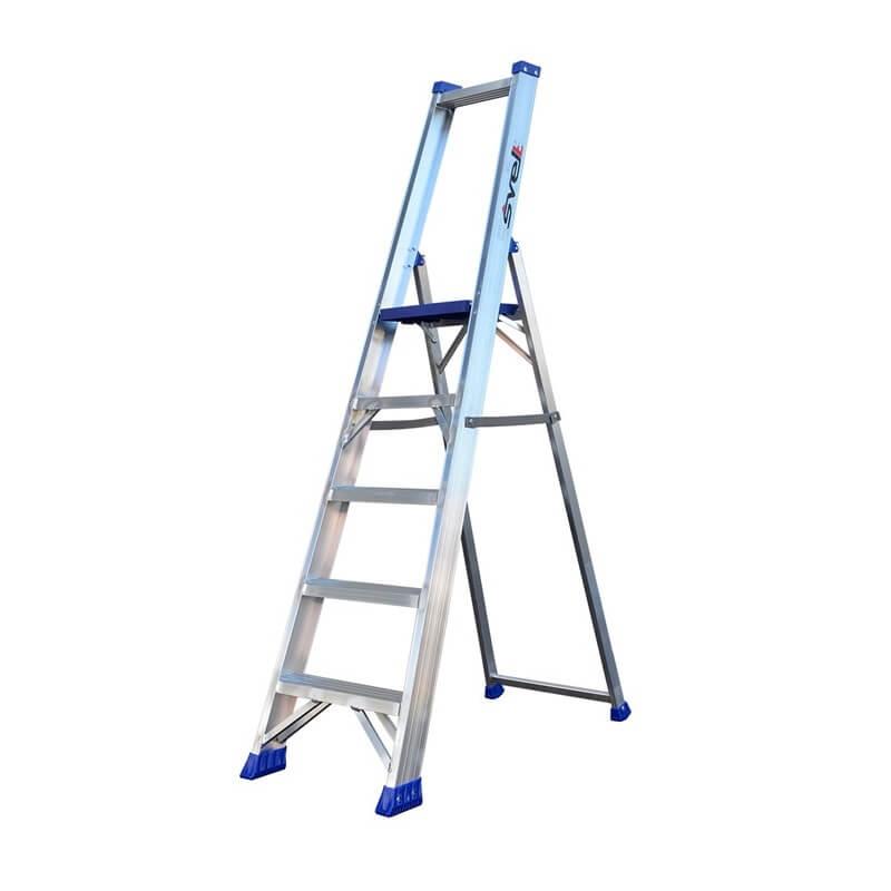 Escalera de almacén con peldaño ancho de aluminio Svelt Regina - 5 peldaños - Referencia REG-5