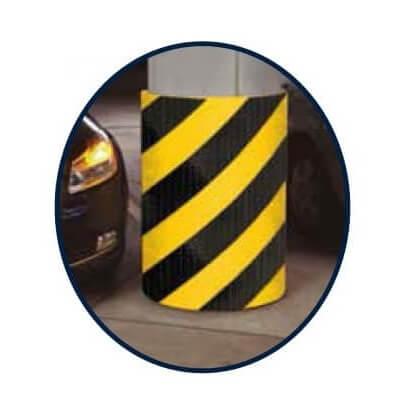 Protector columna de 100x200x1cm color Negro/Amarillo