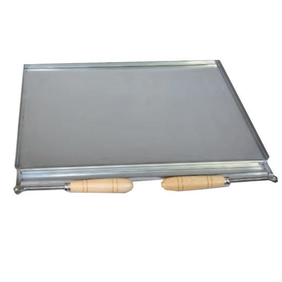 Plancha asadora INOX con recogegrasas y mangos Flores Cortés - 490x410mm - Referencia 38920