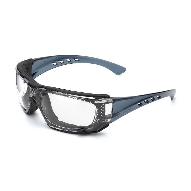 Gafas de ocular incoloro con patillas flexibles transparentes y foam anti-impactos Mod. BARIO