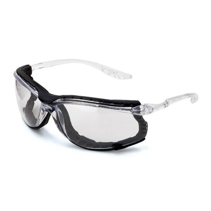 Gafas de ocular incoloro con patillas flexibles transparentes y foam anti-impactos Mod. OSMIO
