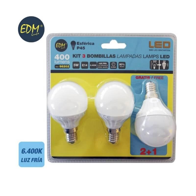 Kit 3 bombillas esfericas LED E14 5W 400 lumens - 6.400K EDM
