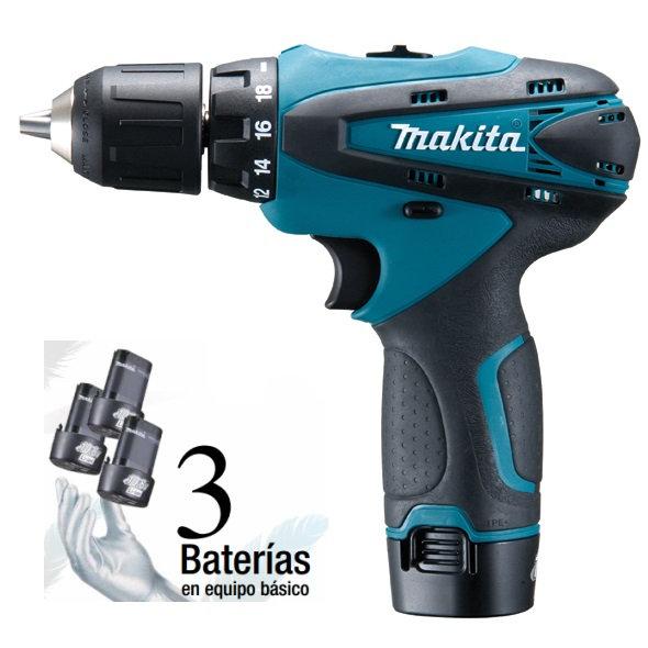 Taladro atornillador Makita DF330DWE3 con 3 baterías