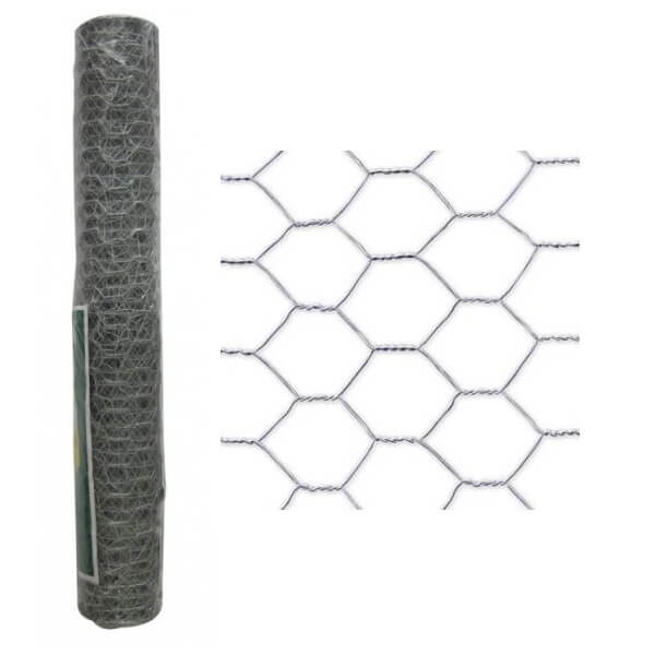 Malla metálica galvanizada de triple torsión 13x0'7mm - 0'5x50 metros