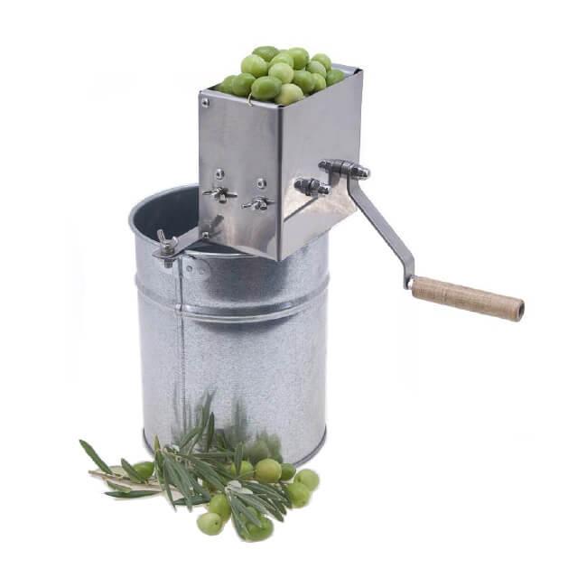 Máquina inoxidable de rajar aceitunas con cubo Flores Cortés - Referencia 20987