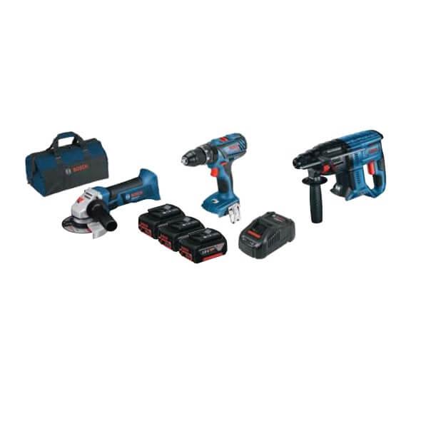 Kit Bosch Martillo GBH 18V-21 + Amoladora GWS 18V-Li + Taladro GSB 18V-28 con 3 baterías 4ah - Referencia 0615990M0U