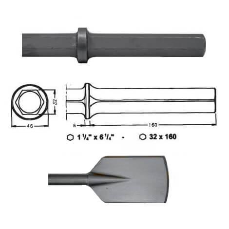 Pala ancha para martillos neumáticos inserción Hexagonal 32x160 de 440mm