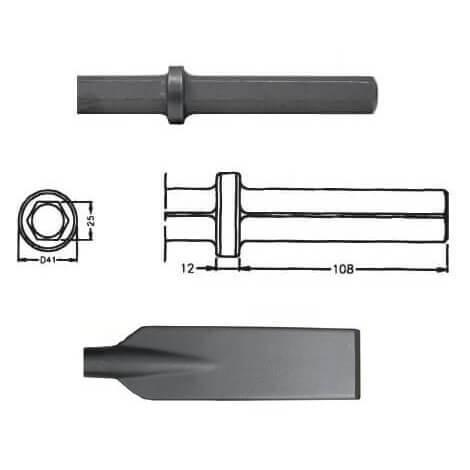 Pala larga para martillos neumáticos inserción Hexagonal 25x108 de 80x520mm