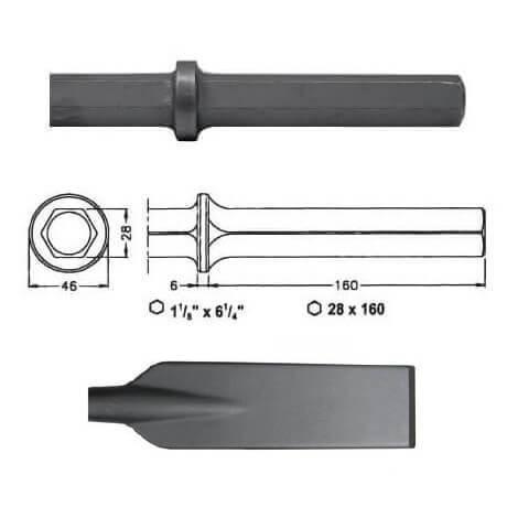 Pala larga para martillos neumáticos inserción Hexagonal 28x160 de 80x520mm