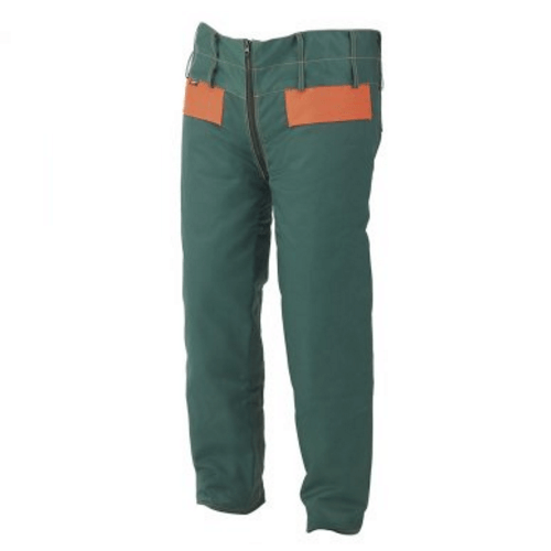 Pantalón quijote leñador protección motosierra verde/naranja