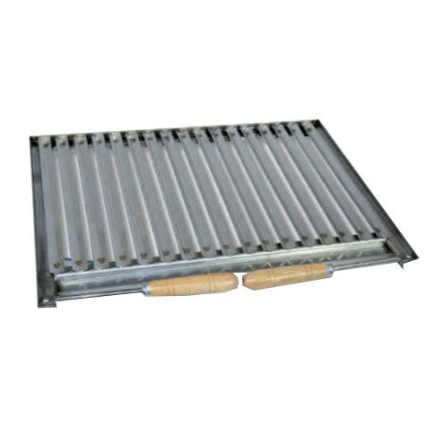 Parrilla asadora INOX con recogegrasas y mangos Flores Cortés  - 490x410mm - Referencia 38910