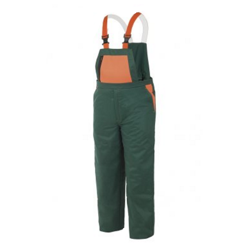 Peto con protección anticorte para motosierra verde/naranja para leñador