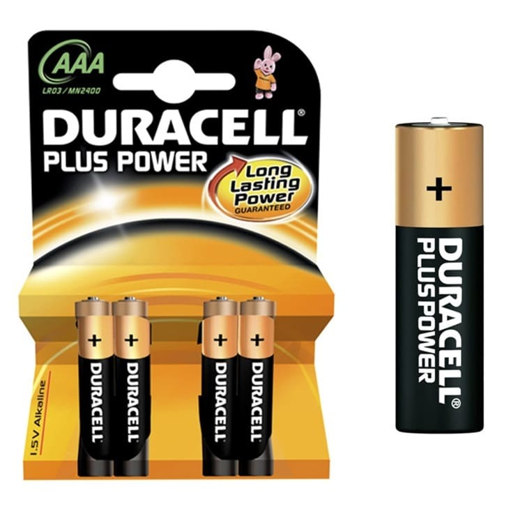 Pilas alcalinas DURACELL PLUS POWER - AAA (Blister 4 unidades)