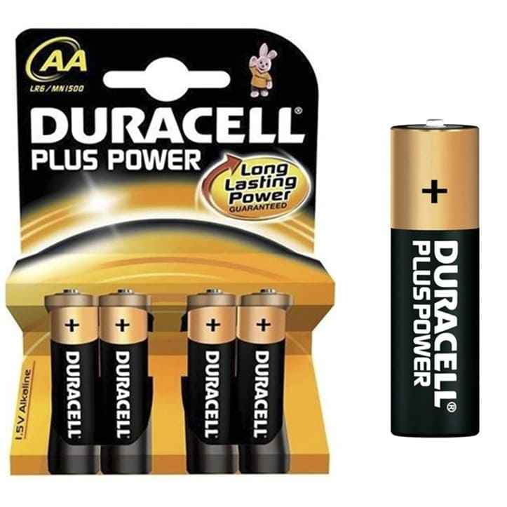 Pilas alcalinas DURACELL PLUS POWER - AA (Blister 4 unidades) - Referencia 38001