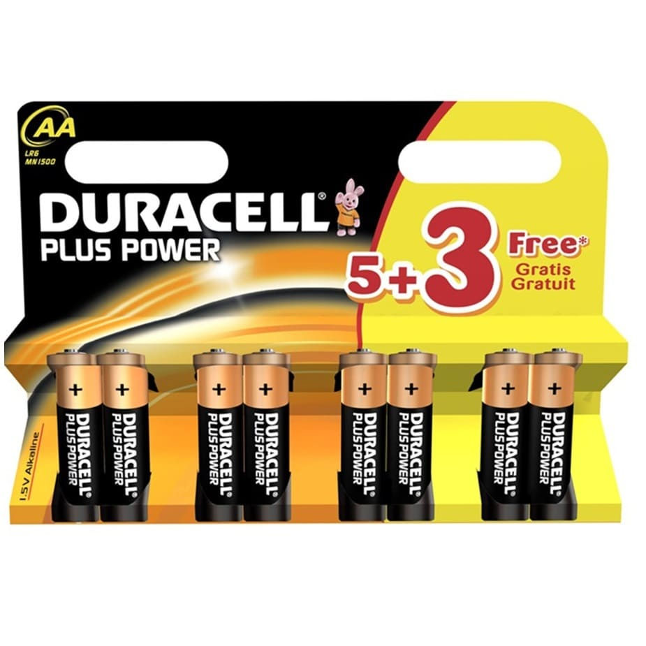 Pilas alcalinas DURACELL PLUS POWER AA (Blister 5+3) - Referencia 38032