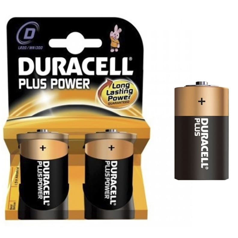 Pilas alcalinas DURACELL PLUS POWER LR20 - D (Blister 2 unidades) - Referencia 38003
