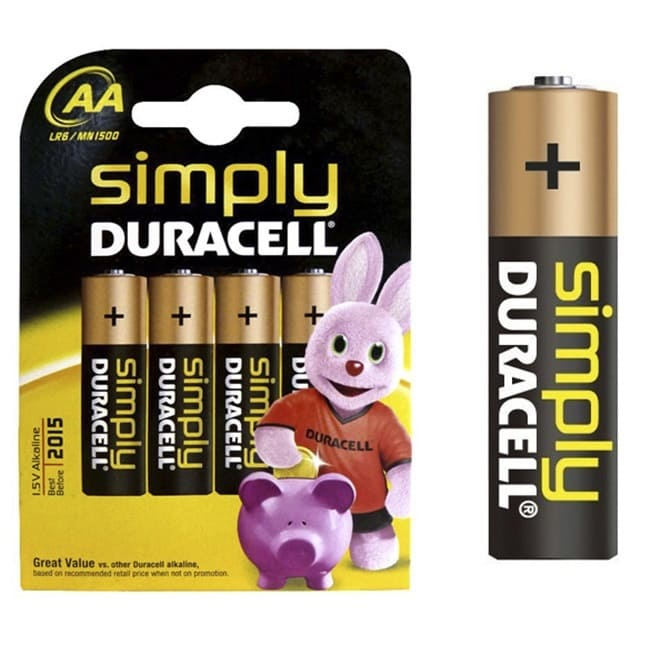 Pilas alcalinas DURACELL SIMPLY - AA (Blister 4 unidades)