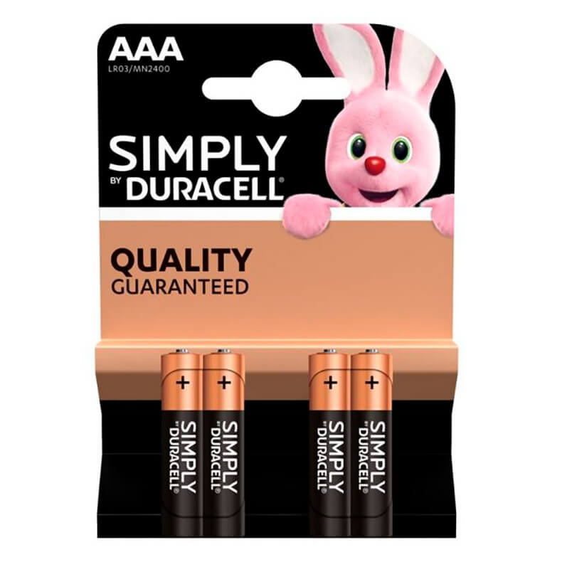 Pilas alcalinas DURACELL SIMPLY - AAA (Blister 4 unidades) - Referencia 38036