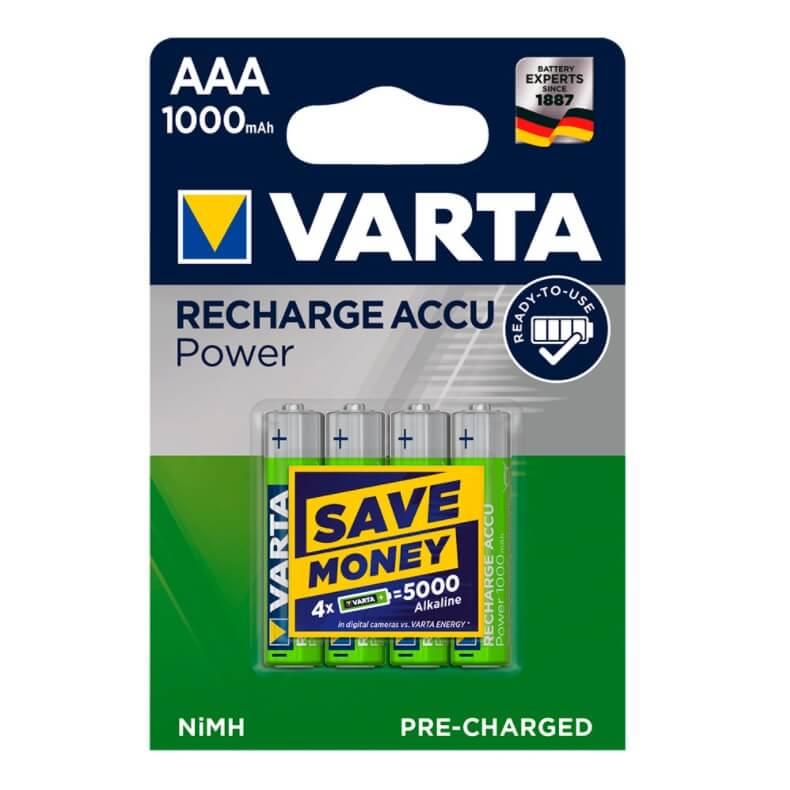 Pilas recargable VARTA ACCU POWER - AAA (Blister 4 unidades) - Referencia 38649
