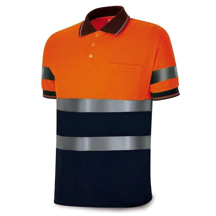 Polo manga corta alta visibilidad naranja/azul 1288-POLFN/A