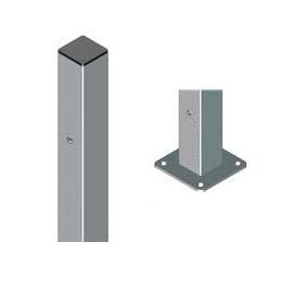 Poste cuadrado galvanizado de 60x60x1'5mm con placa base - 0'60 metros