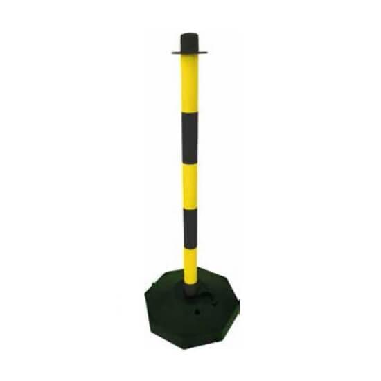 Poste señalización con base rellenable Amarillo/Negro de 1 metro