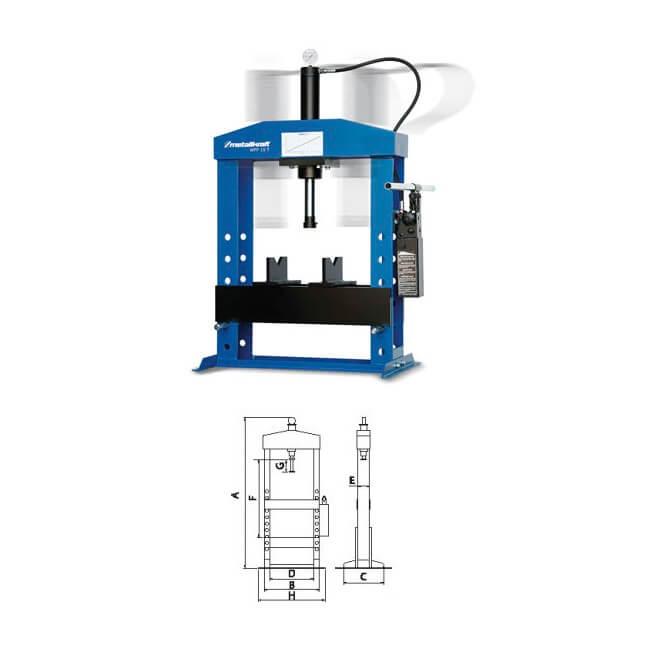 Prensa hidráulica con cilindro móvil Metallkraft WPP 15 T de 15T