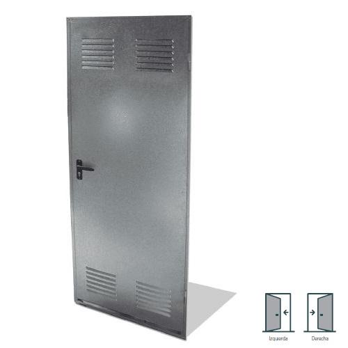 Puerta trastero galvanizada con rejilla - 79x200mm Izquierda