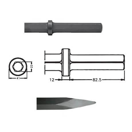 Puntero para martillos neumáticos inserción Hexagonal 22x82,5 de 450mm - Referencia 00017