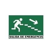 Cartel Salida Emergencia escalera derecha abajo fotoluminiscente