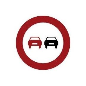 Señal de tráfico adelantamiento prohibido Homologada 60cm