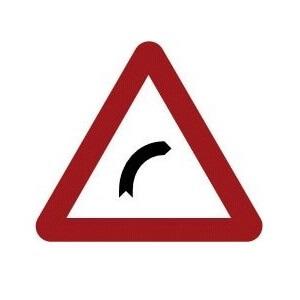 Señal de tráfico peligro curva peligrosa hacia la derecha