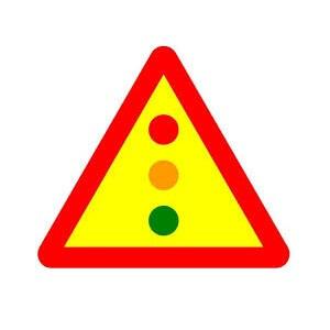 Señal de obra peligro por semáforos