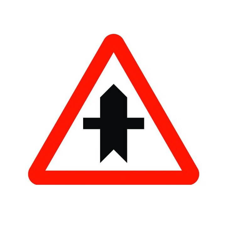 Señal de tráfico peligro intersección con prioridad Homologada 70cm