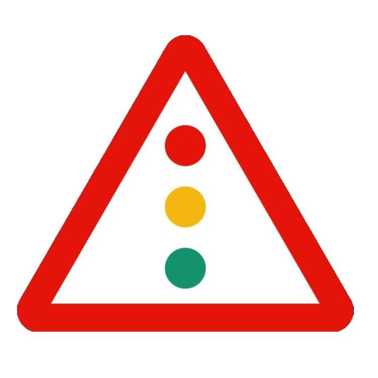 Señal de tráfico peligro semáforos Homologada 70cm