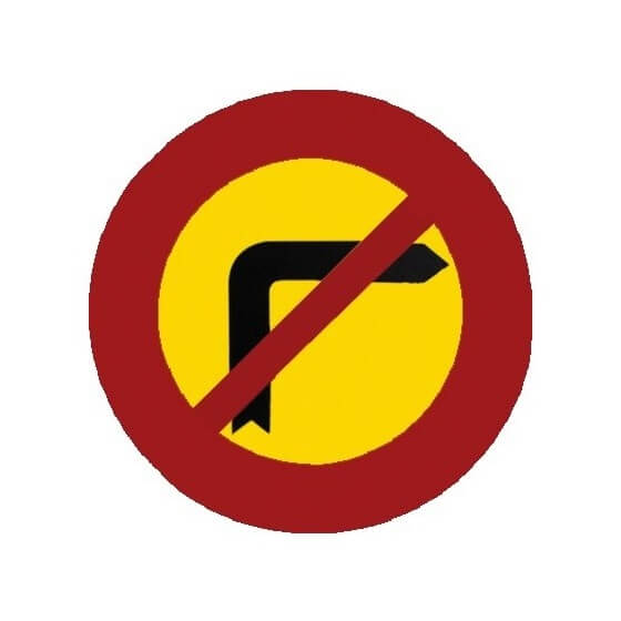 Señal de obra Prohibido girar a la derecha