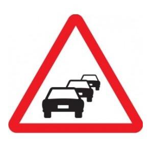 Señal de tráfico peligro congestión Homologada 70cm