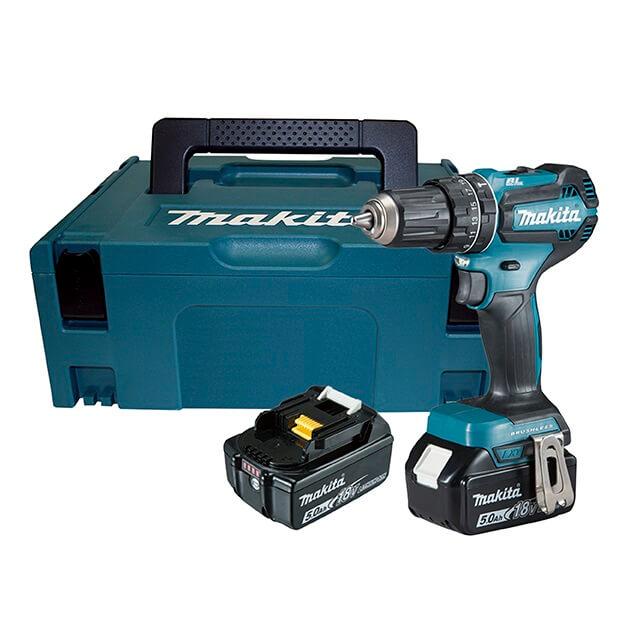 Makita DHP485RTJ con 2 baterías 5Ah - Taladro percutor BL 18V LXT 50Nm