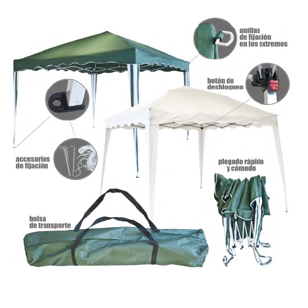 Carpa poliéster extensible de 2'7x2'7 metros - color Verde